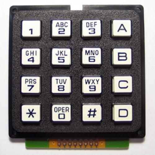 4x4 KeyPad, Alphanumeric Mobile / Cell Phone Keypad C Code for PIC