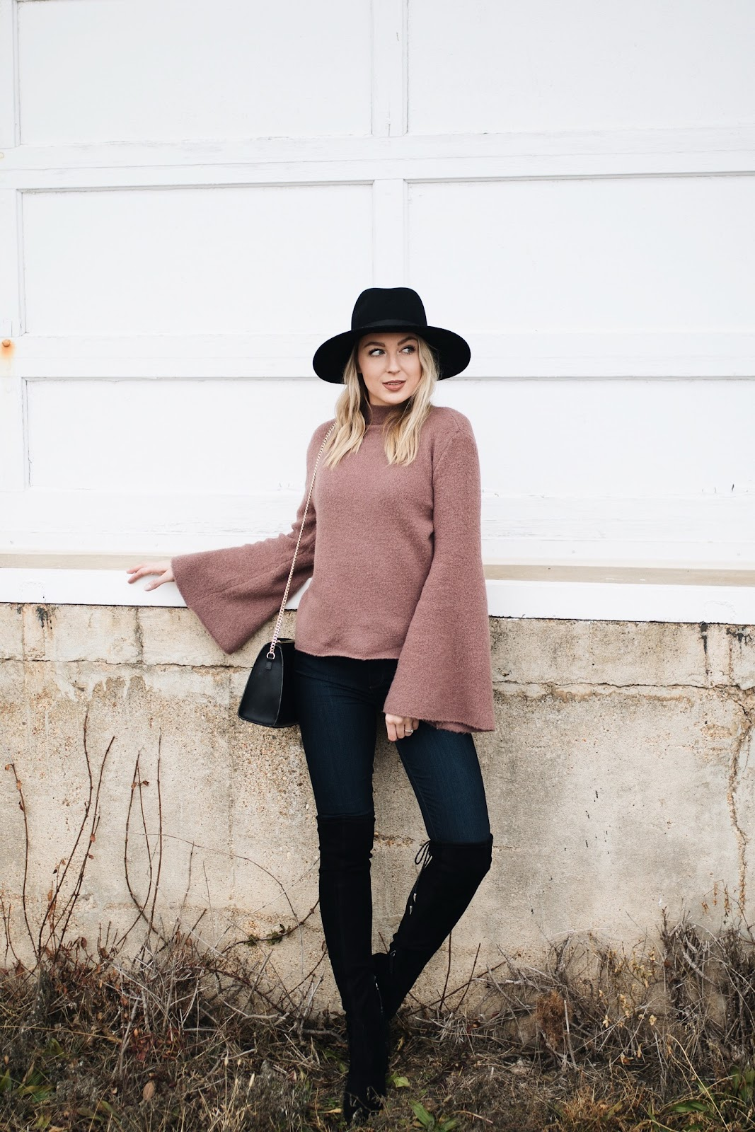 bell sleeve sweater, otk boots