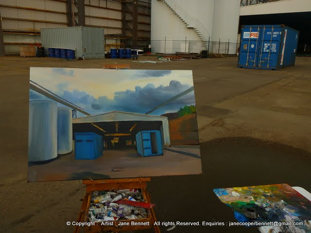 plein air oil painting of the White Bay Transit Shed, White Bay Wharf by industrial and maritime heritage artist Jane Bennett