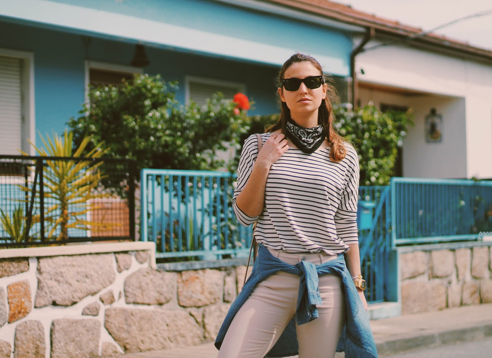 7160953b426b striped beige and black shirt: Pimkie | beige coated jeans: Mango | denim  shirt: c/o SheIn blush bag: Michael Kors Selma Mini messenger (similar  here) ...
