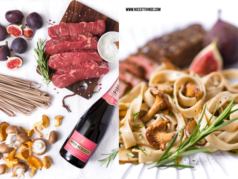 Champagner Rezept BBQ Dry Aged Beef, Feigen Sauce, Tagliatelle, Pfifferlinge