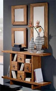 mueble rustico entrada, mueble rustico actual, mueble recibidor con espejos