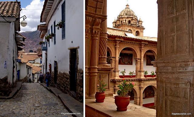 Cusco: uma ladeira do Bairro de San Blas e o claustro do Convento de La Merced