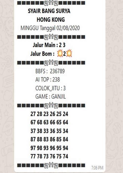 Kode syair Hongkong Minggu 2 Agustus 2020 30
