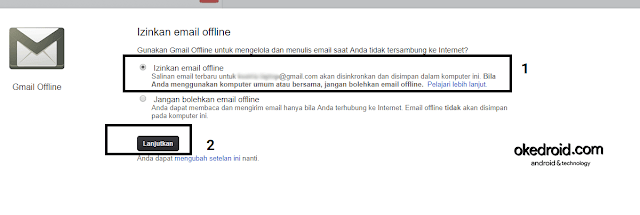 Izinkan email gmail offline