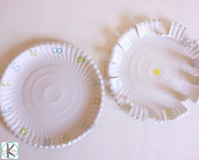 mark time on the paper plate clock by counting by 5s. Then cut slits around the times
