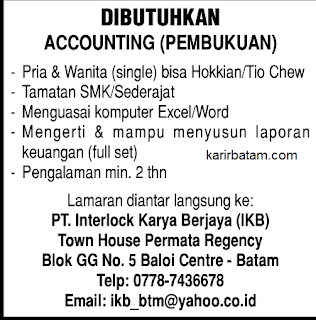 Lowongan Kerja PT. Interlock Karya Berjaya