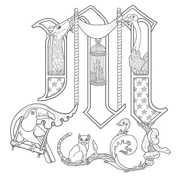 Illuminated manuscript coloring pages of books coloring for Illuminated alphabet templates
