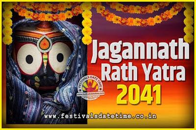 2041 Jagannath Rath Yatra Pooja Date and Time, 2041 Puri Ratha Yatra Calendar