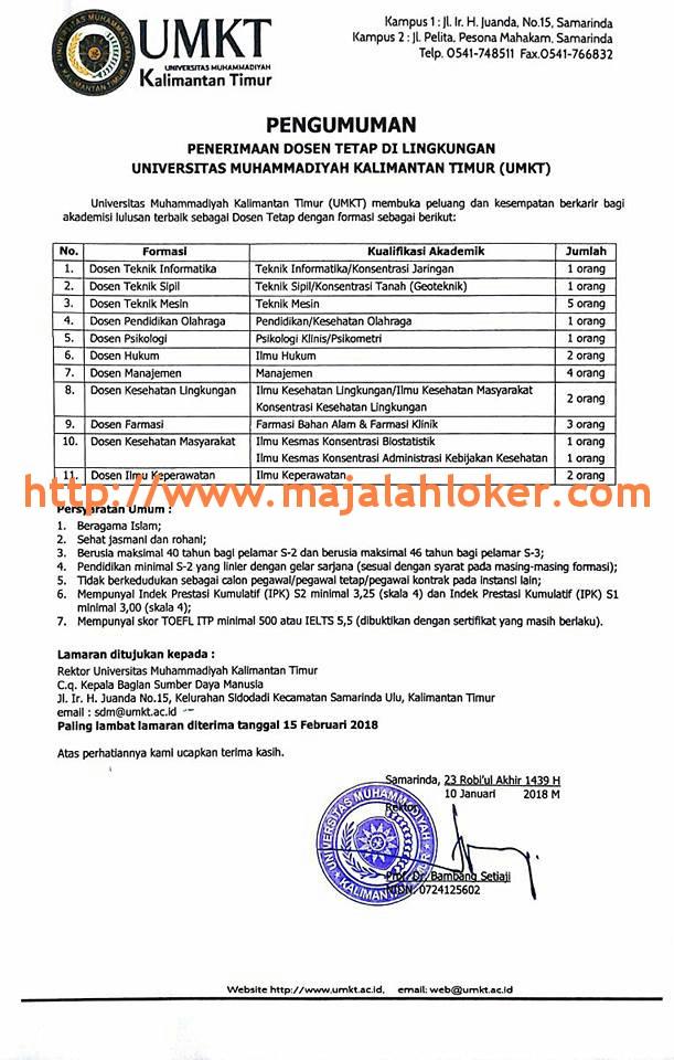 Lowongan Dosen Tetap Universitas Muhammadiyah Kalimantan Timur (UMKT)