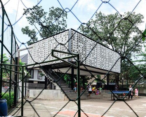 Tinuku.com SHAUN studio build Bima Microlibrary Park using recycled 2000 ice cream plastic bucket