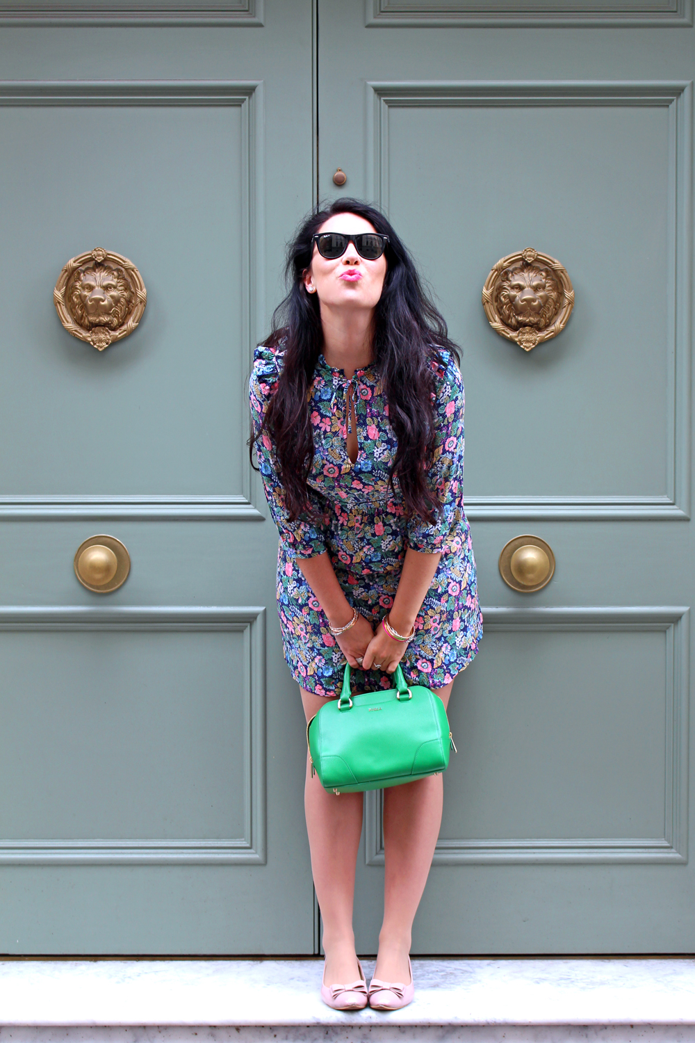 Green floral & Other Stories dress, Emma Louise Layla - London fashion blogger