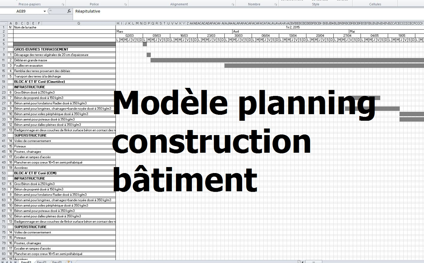 Berühmt exemple de modèle planning travaux construction bâtiment - excel  NO47