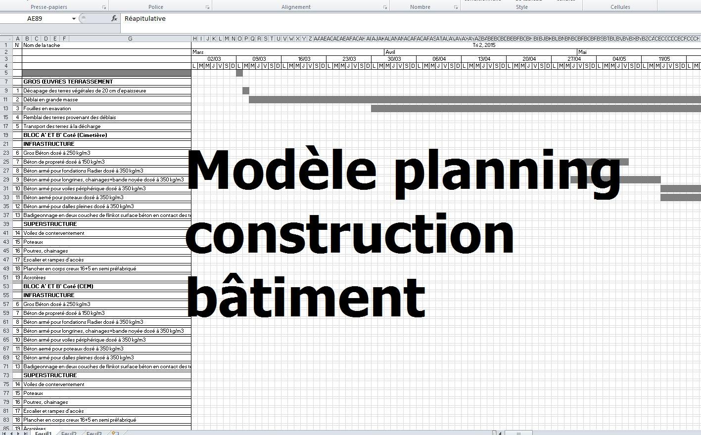 exemple de modèle planning travaux construction bâtiment - excel ... - Echeancier Construction Maison Individuelle