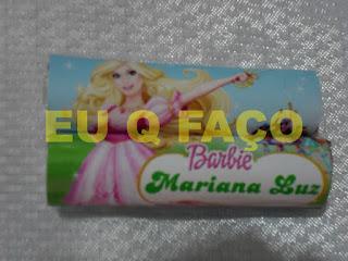 barbie e as três mosqueteiras, brindes da barbie, chocolate baton, lembrancinhas, brindes, festa, infantil
