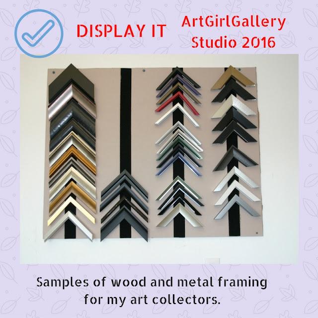 Display with corner frame samples of metal and wood options.