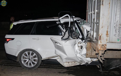 Image result for : One dies as Range Rover rams into a parked trailer along Lagos-Ibadan expressway