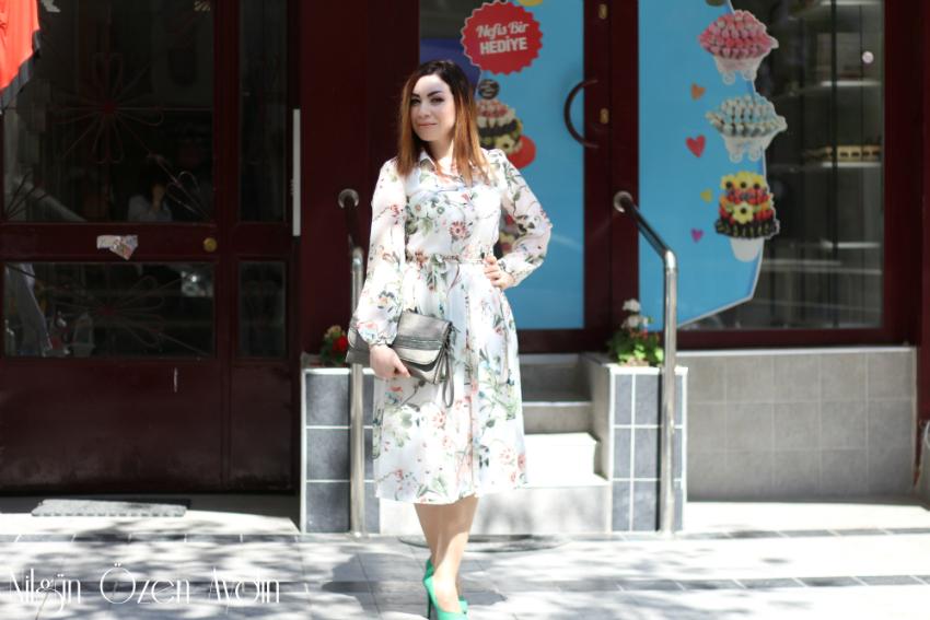alışveriş-Çiçekli Şifon Elbise-Romwe-Soufeel