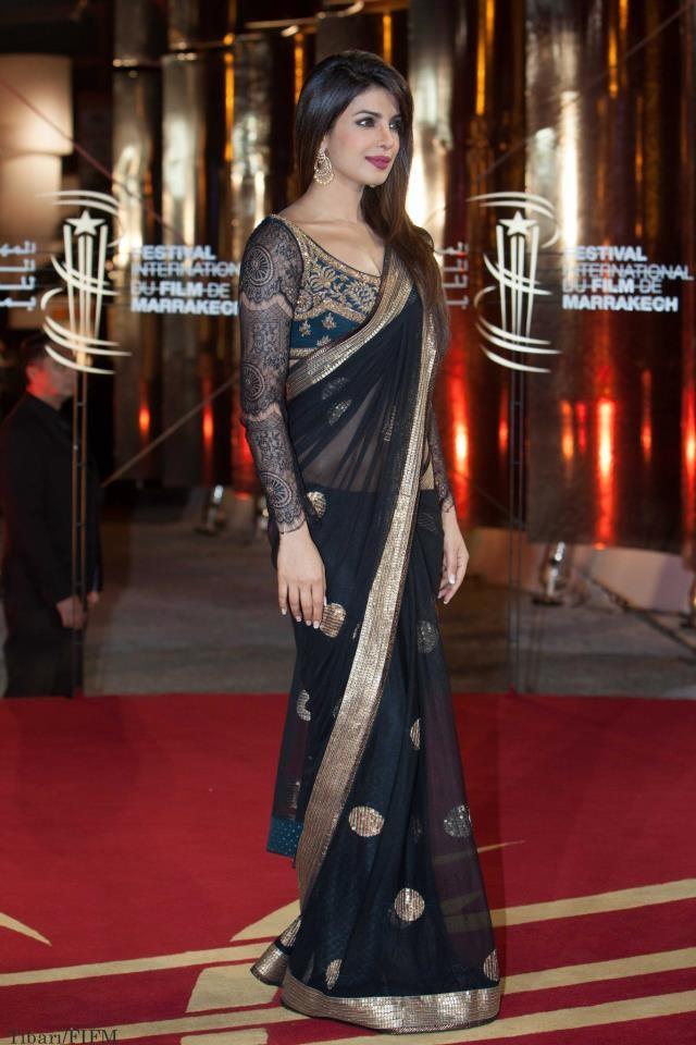 Priyanka chopra in black designer saree at marrakech