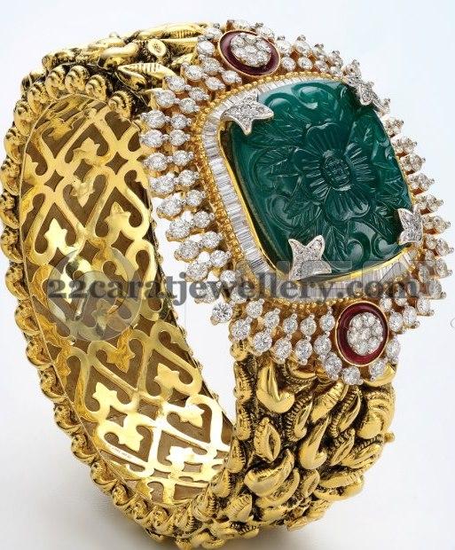 Classy Diamond Gold Broad Kada Jewellery Designs