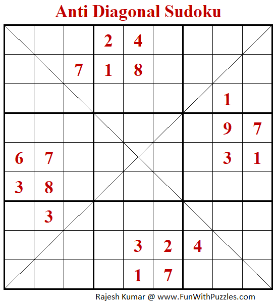 Anti Diagonal Sudoku Puzzle (Fun With Sudoku #345)