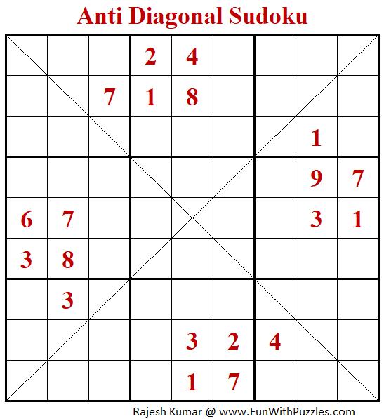Anti Diagonal Sudoku Puzzle (Fun With Sudoku #345)