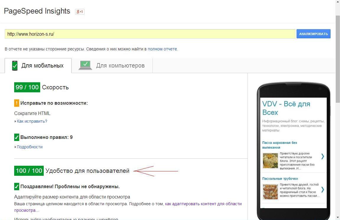 Проверка в программе PageSpeed Insights