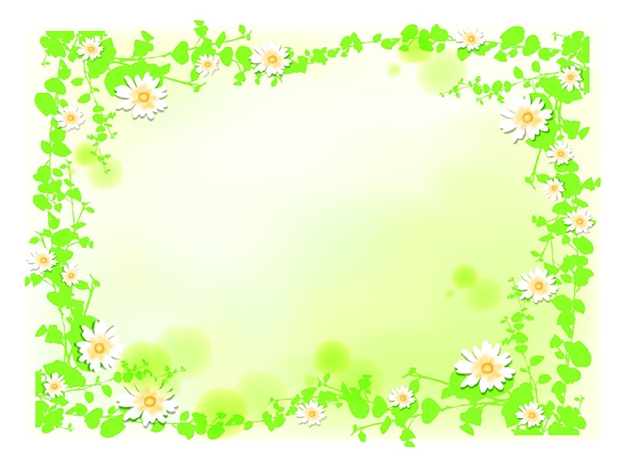 green leaf and flower border PPT background