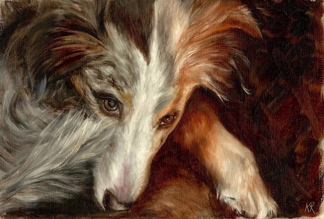keeping watch, oil painting of an Australian Shepherd dog