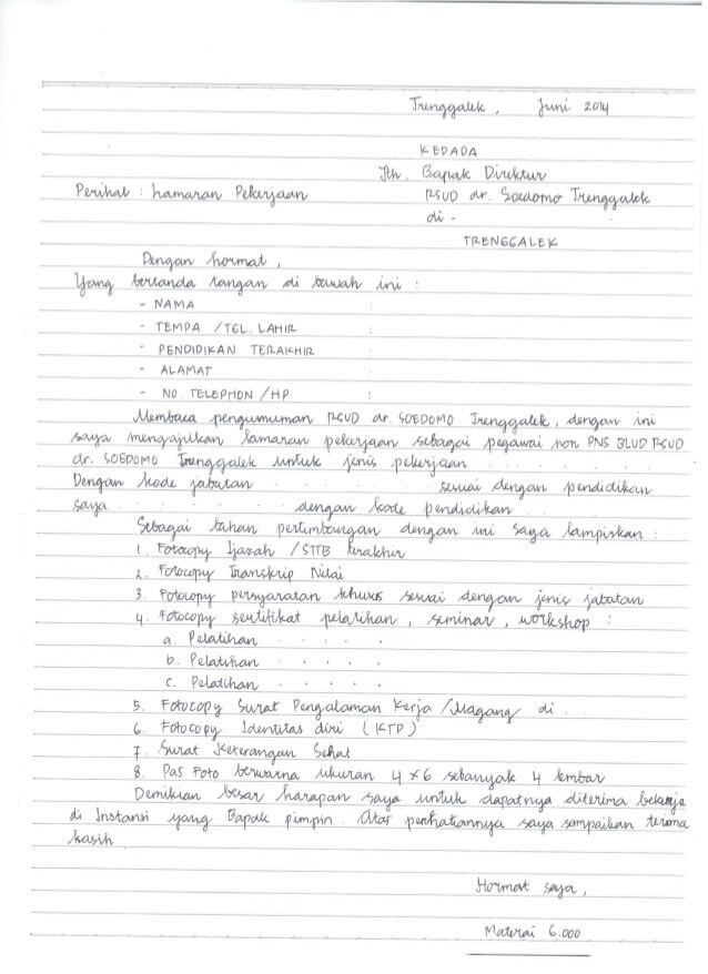 Contoh Surat Lamaran Kerja Bagian Administrasi Di Rumah Sakit