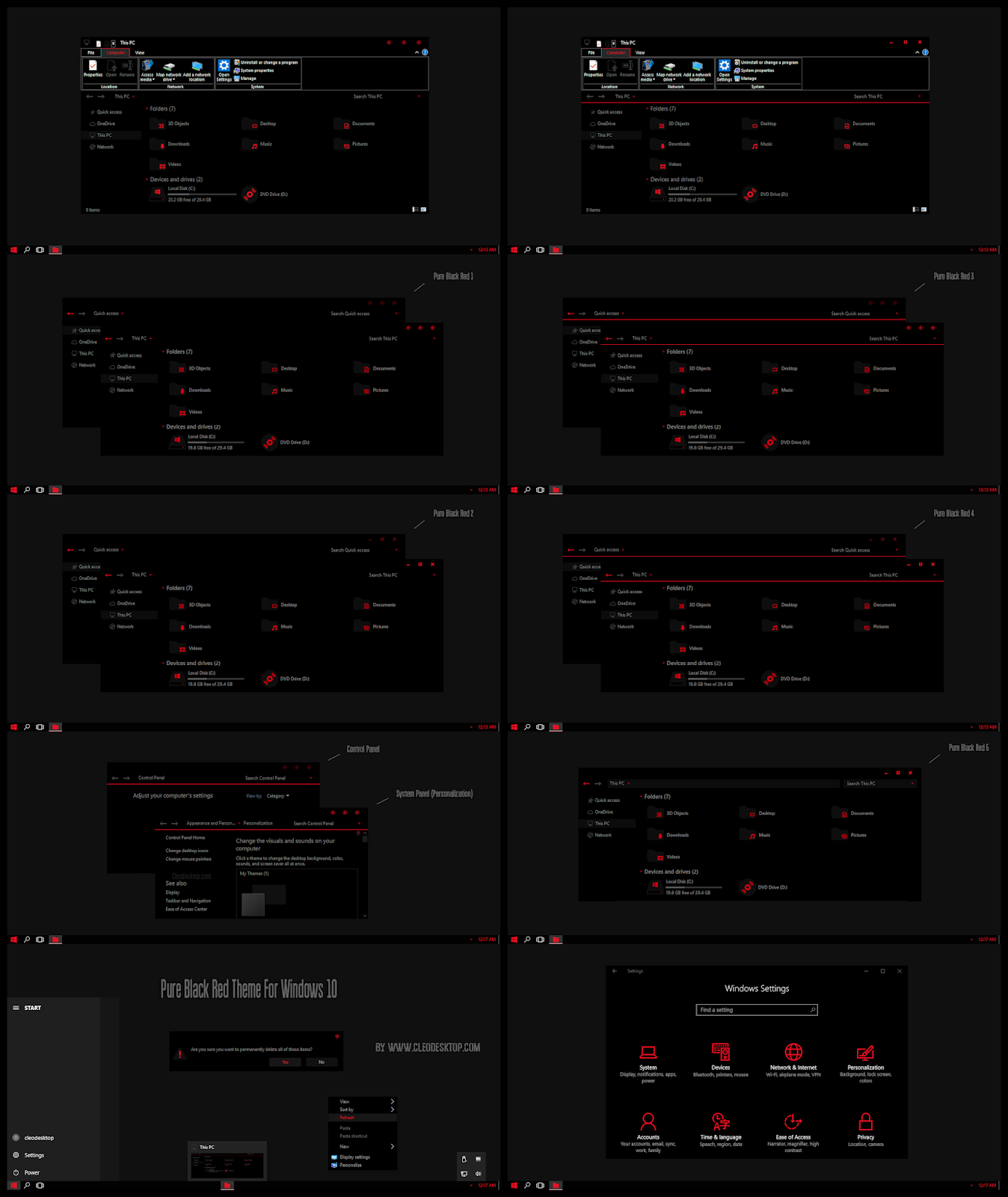 Pure Black Red Theme For Windows10 2004