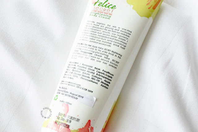 Felice Secret Brightening Body Cream review, Felice Secret Review, Felice Secret abal tidak, Felice secret aman, Felice secret asli, Felice secret pemutih kulit, Felice secret pencerah kulit, Produk pencerah kulit, produk pemutih kulit