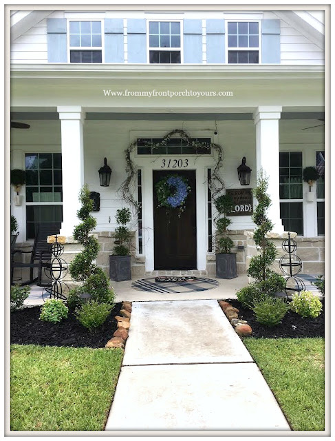 Flower Beds-Curb Appeal-Southern Charm-Farmhouse Style-Hydrangea Wreath-topiaries-Sprial Shrubs-DIY Landscape-From My Front Porch To Yours