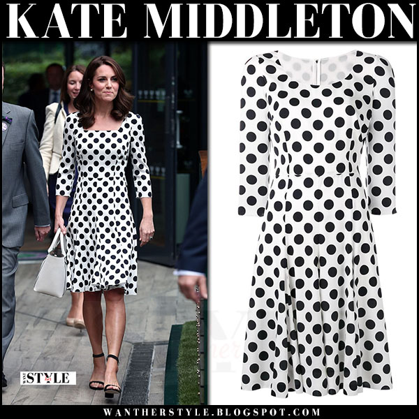Kate Middleton in white polka dot print dress from Dolce & Gabbana wimbledon july 3 2017