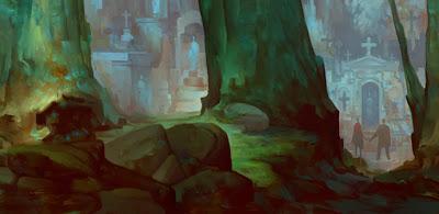 Fantástica ilustración de paisajes futurista y de fantasía