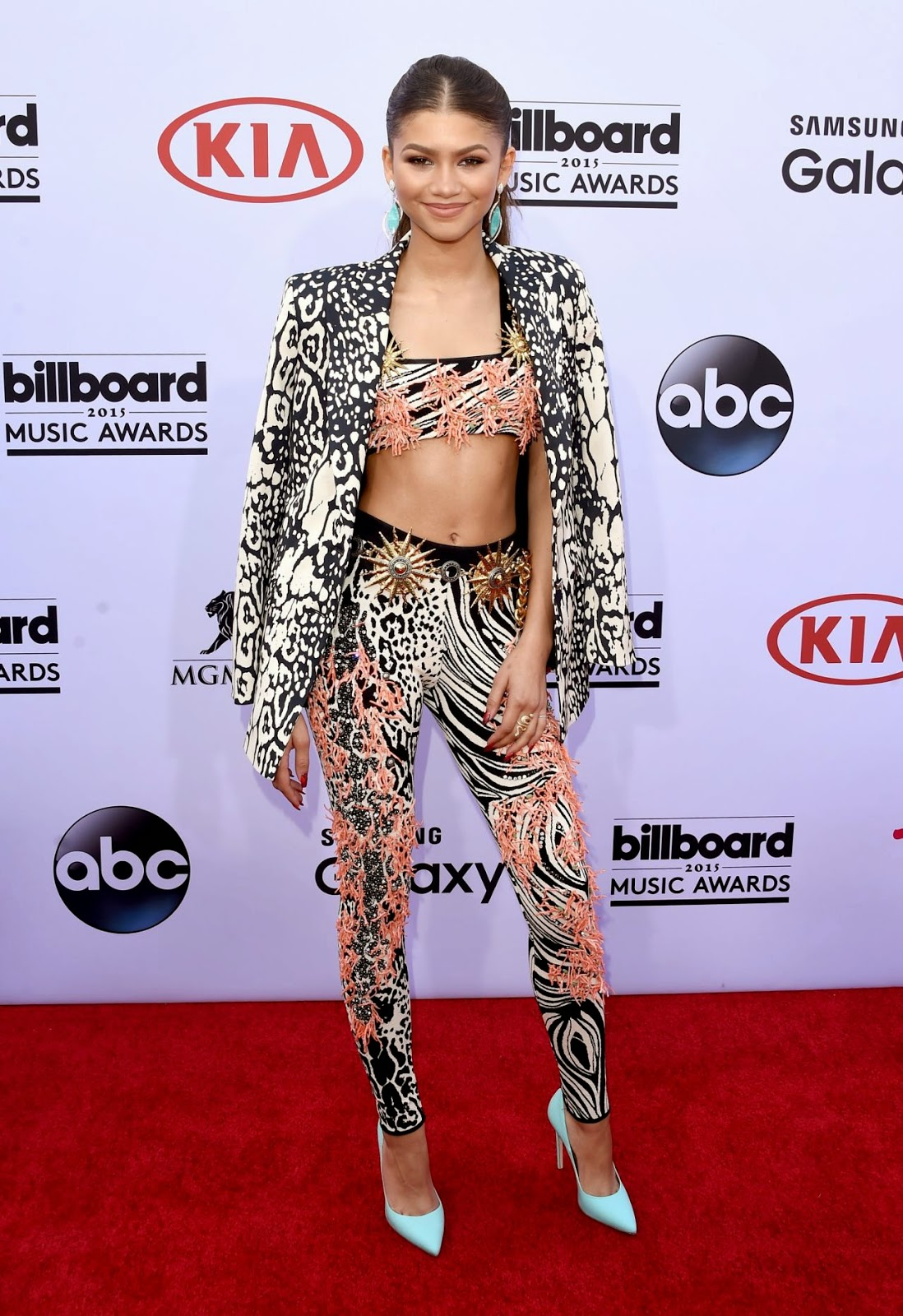 Zendaya flaunts abs in a bralet at the 2015 Billboard Music Awards
