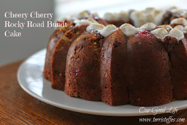 cheery cherry Rocky Road Bundt Cake