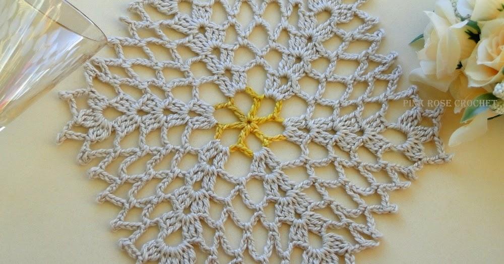 Pink Rose Crochet Doily 40