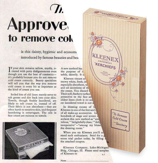 Kleenex, pop-up tissue package 1928