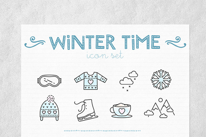 24 vector linear Winter Time icons - InnaMoreva