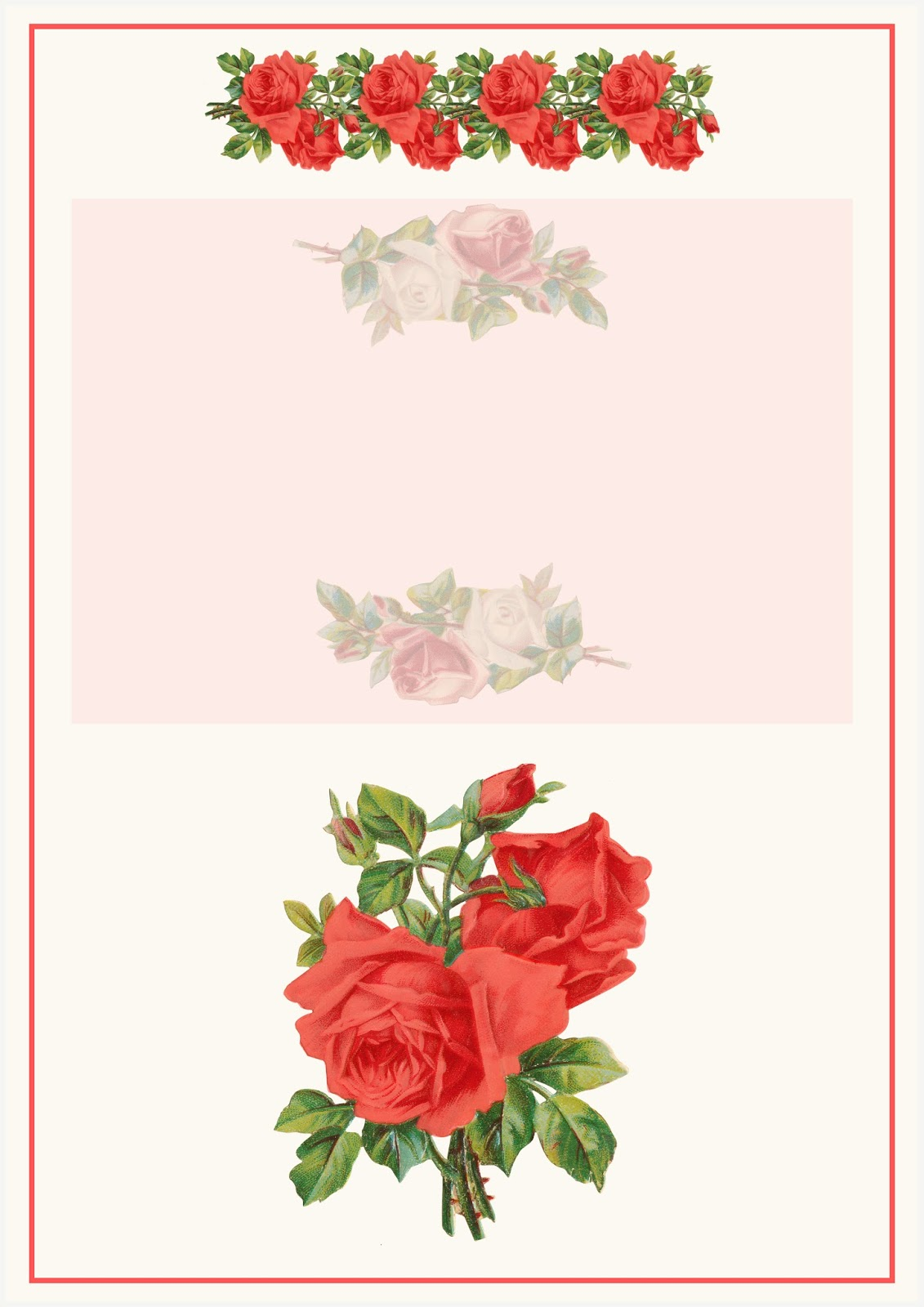 Free digital rose scrapbooking paper + printable stationery - Rosenpapier