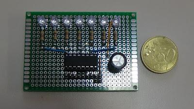 Fig. 2 - Modulo con 7 LED - vista componenti - per Arduino UNO R3 di Paolo Luongo