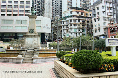 Vasco Da Gama Square, historical place and tourist spot surrounded by old portuguese style houses, old central Macau
