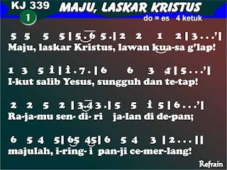 Lirik dan Not Kidung Jemaat 339 Maju, Laskar Kristus