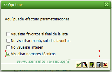 Opciones de visualizacion SAP Easy Access
