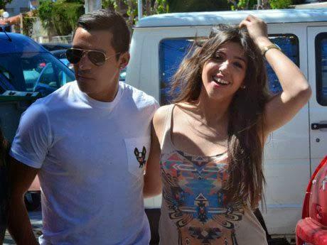 Alexis Sanchez with ex-girlfriend Michelle Carvalho