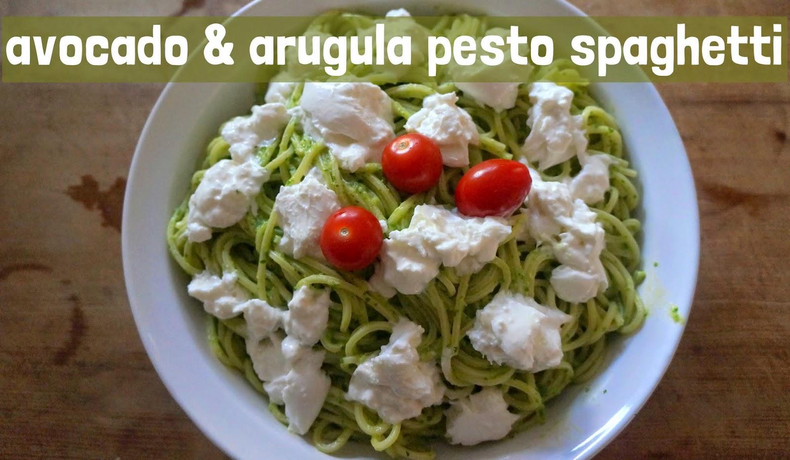 avocado & arugula pesto spaghetti