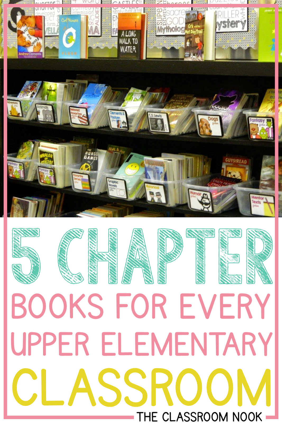 Check out this post with 5 Chapter Books that every upper elementary classroom library should have - these are great for read-aloud books or even to use in your whole-group and small-group reading instruction #upperelementary #teachingreading #thirdgrade #fourthgrade #fifthgrade #novels #guidedreading #readaloud
