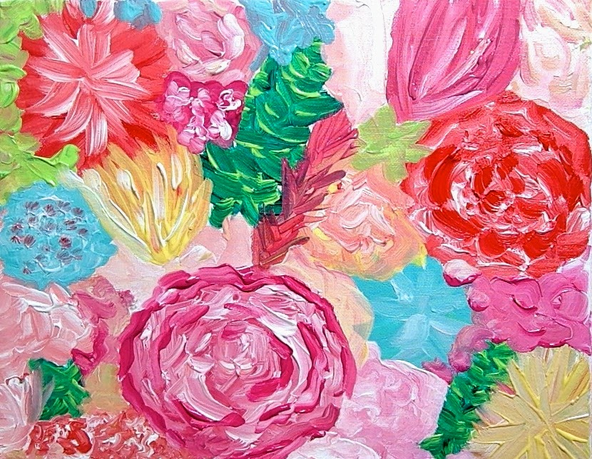 lulie wallace flower painting charleston sc colorful art original pink orange blue green