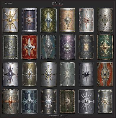 Imagens de escudos podem ser usados para simular mostruários em aventuras.